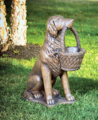 Retriever Left With Basket Planter Statue