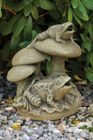 Frogs & Mushrooms Piped Water Feature Statue