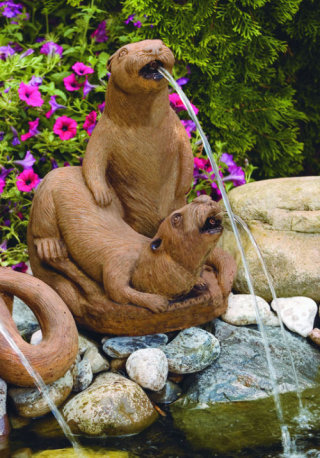 Otter Couple Piped Water Feature 17