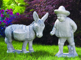 Donkey & Packs With Standing Mexican Statue