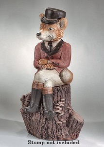 Sitting Hunter Boy Fox Garden Statue