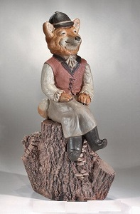Sitting Hunter Girl Fox On Log Pedestal Garden Statue