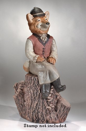 Sitting Hunter Girl Fox Garden Statue