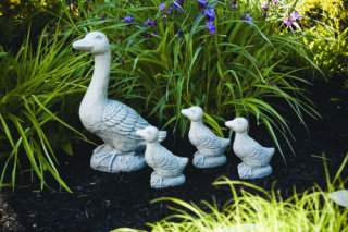 Geese Statuary Mother Goose with Three Chicks Statues
