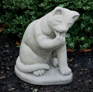 Cat Licking Paw Sculpture 15