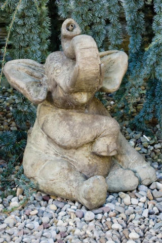 Elephant Sitting Piped Water Feature Statue