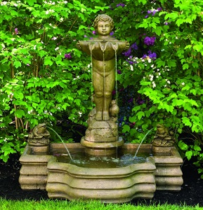 Cherub Standing With Frogs Fountain