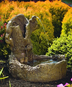 Frogs On Garden Stump Fountain 26