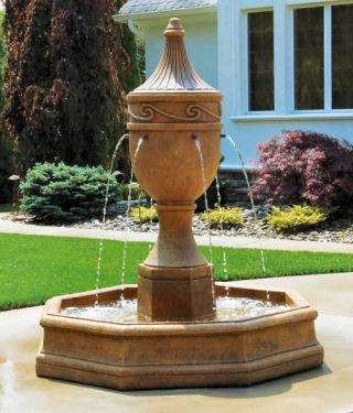 Imperial Scroll Garden Fountain Elegant Cast Stone