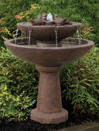 Tranquility Garden Spill Fountain With Birds