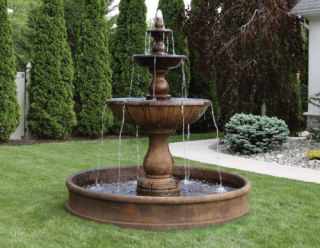 Boca Three Tier Garden Fountain with Cement Pool