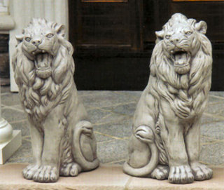 Roaring Sitting Lion Left & Right Set Statues