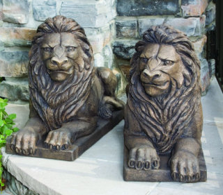 Guardian Lion Laying Down Sculptures Pair