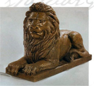 Guardian Lion Laying Left Statue