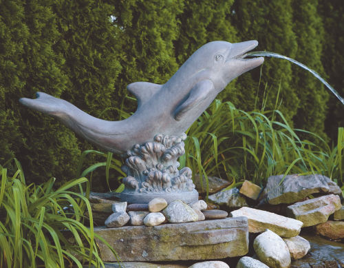 Dolphin Riding On Wave Piped Water Feature Sculpture