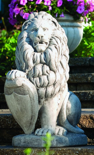 Lion With Shield Cement Statue Right 27
