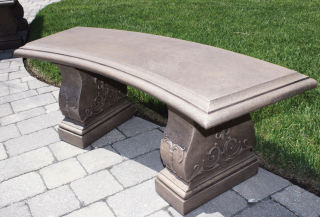 Jubilee Curved Cement Garden Bench