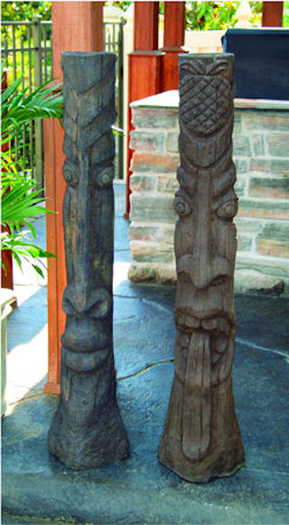 Tiki Post Cement Garden Sculptures Set Large