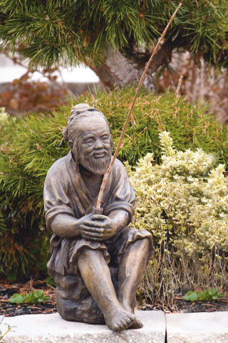 Sitting Oriental Man Fishing Statue 20
