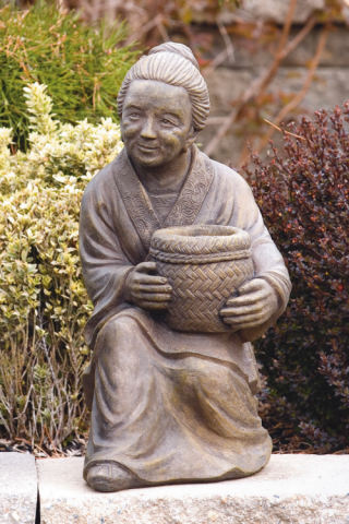 Sitting Oriental Woman With Basket Planter