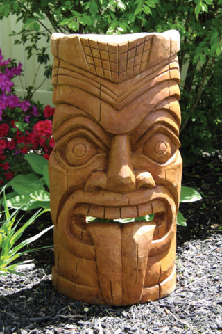 Laughing Tongue Tiki Face Garden Sculpture