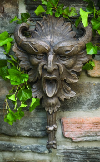 Greenman Wall Plaque Plumbed Sculpture
