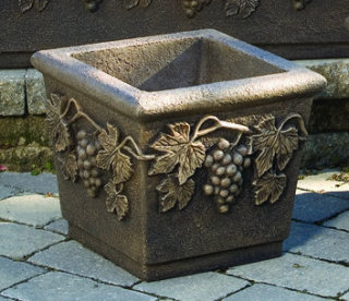 Sonoma Planter Square with Grape Leaf Motif