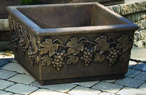 Sonoma Large Square Planter with Grape Leaves