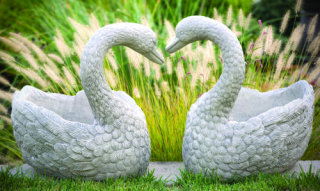 Heart Swan Pair of Cement Garden Planters