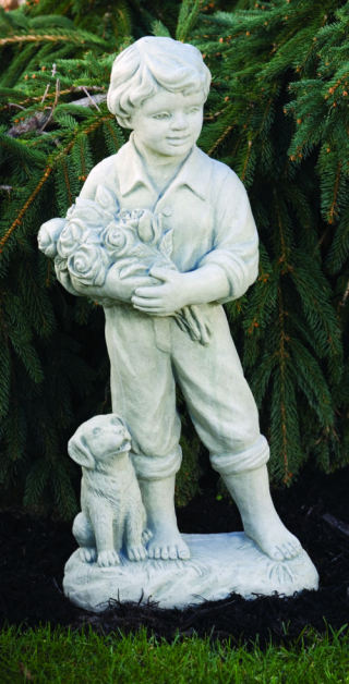 Boy With Roses & Dog Garden Statue 29