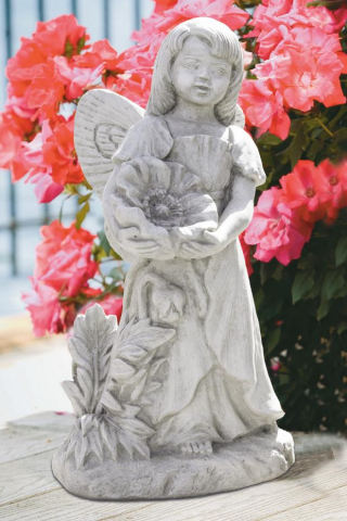 Standing Poppy Fairy Cement Statue