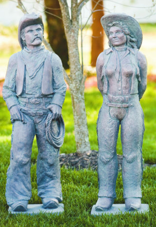Cowboy Man & Woman Southwest Sculptures