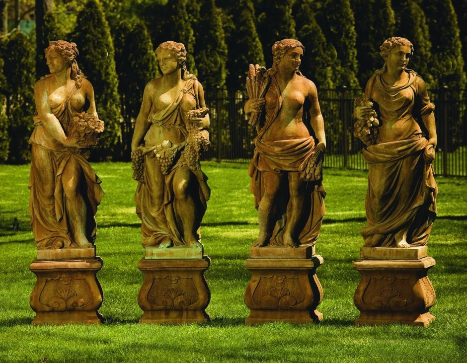 Four Seasons Life-Size Set of Four Statues with Base