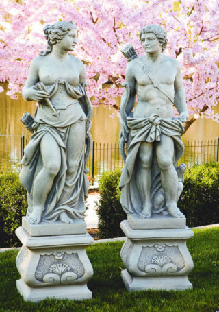 Diana & Apollo Life Size Sculptures Set On Pedestal
