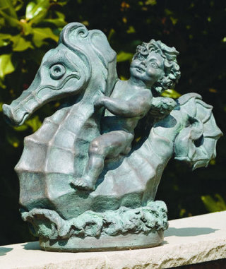 Angel Riding Seahorse Piped Garden Water Feature
