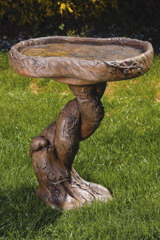 Twisted Woodscape Bird Bath Sculpture