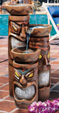 Aloha Cascading Tiki Three-Bowl Garden Fountain
