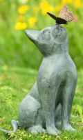 Cat and Butterfly Curiosity Garden Statue