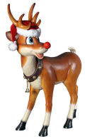 Christmas Santa's Red-Nosed Reindeer Statue
