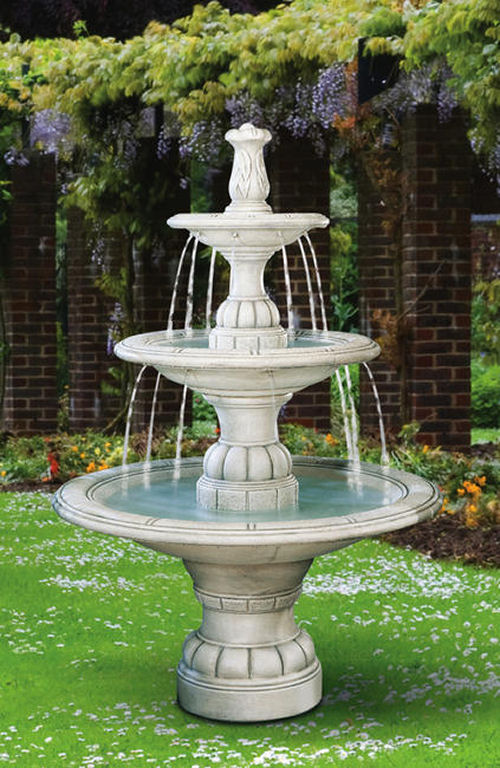 Contemporary Three Tiered Cement Fountain