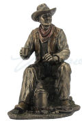 Cowboy on Coffee Break Sculpture