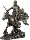 Crusader Charging Knight and Horse Sculpture