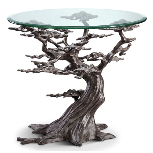 Cypress Tree End Table Sculpture With Glass Top