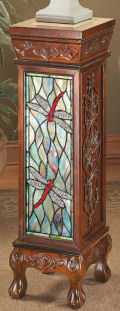 Dragonfly Stained Glass Illuminated Pedestal