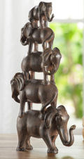 Elephant Quintet Sculpture Stacked Decor