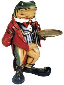 Frog Butler With Serving Tray Sculpture