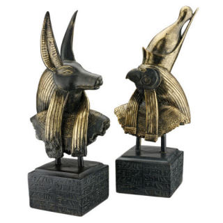 Anubis and Horus Busts Gods of Ancient Egypt Sculptures