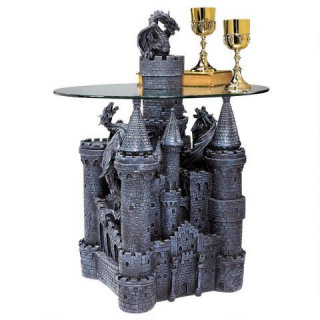 Castle Sculptural Glass-topped Table