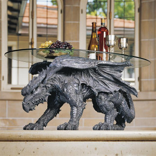 Dragon Glass-topped Coffee Table Sculpturee