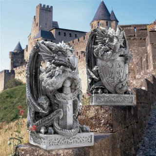Arthurian Sword & Shield Dragon Statues Set